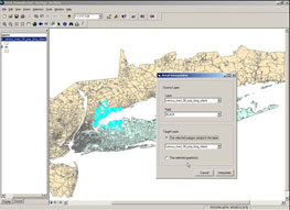 Screen shot of the arial interpolator program, an extension developed for LI GIS