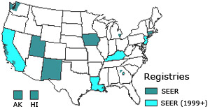 Map of SEER registry locations in the US