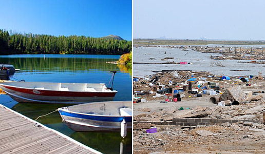 Comparing two photos: one of a serene lake versus another of a trash-lined shore.